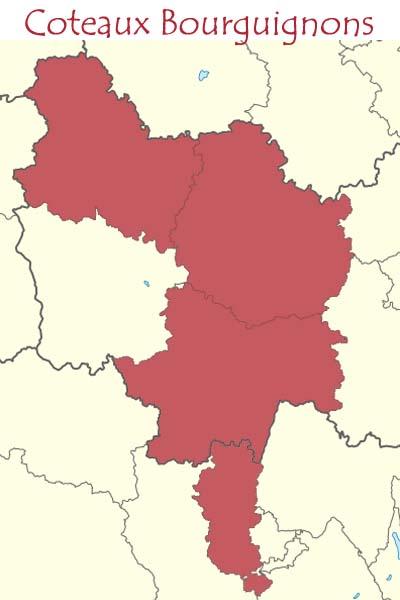 Cartes de l'appellation Coteaux Bourguignons